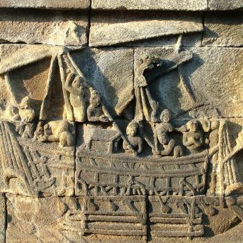 Ship depiction on the Indonesian Borobudur temple