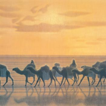 Poster, 'The Silk Roads' (illustrated by the painter Ikuo Hirayama)