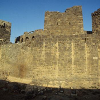 Black rock walls of fortress
