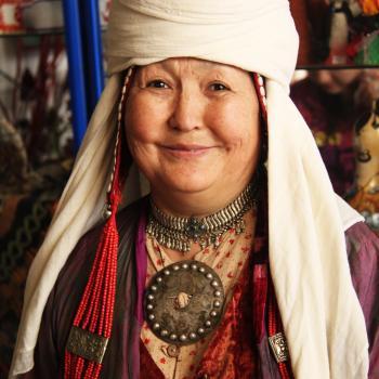 Kyrgyz woman in traditonal clothing